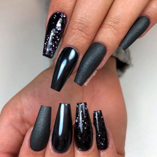 Black Nails With Shiny Accents #glitternails #mattenails