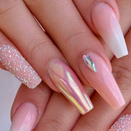 Nude Coffins With Rhinestones Accents #nudenails #coffinnails #longnails