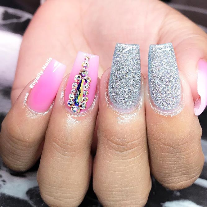 Acrylic Nails Idea With Crystals #square