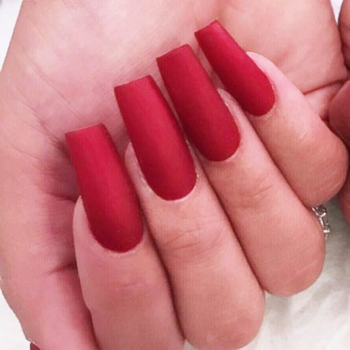 Red Matte Acrylic Nail Idea #rednails