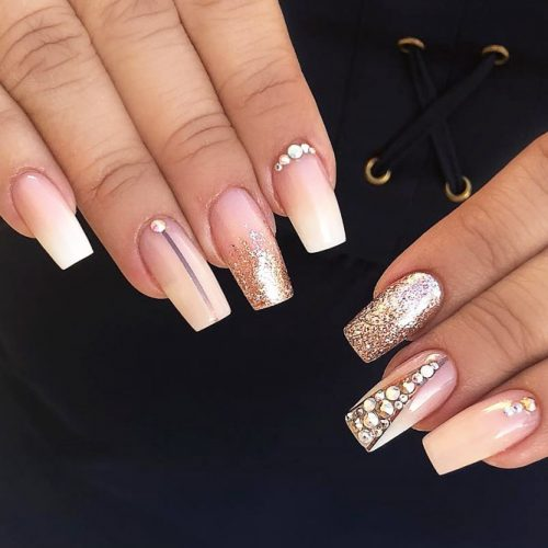 Mix Nail Design With Crystal Accent