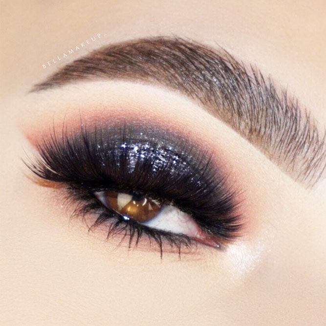 Dark Gray Glitter Smokey Eyes Makeup #glitter