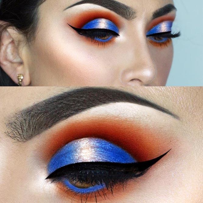 Blue Cut Crease Makeup For Amber Colored Eyes #buecutcrease #smokey