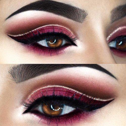 Burgundy Cut Crease Makeup Idea #burgundyshadow #cutcrease