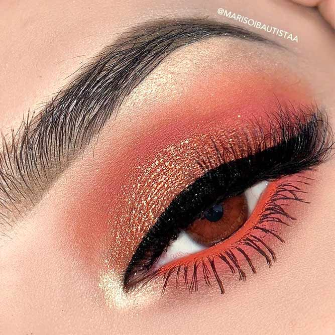 Copper Eyeshadow With Gold Glitter Makeup Idea #goldglitter #coppereyeshadow