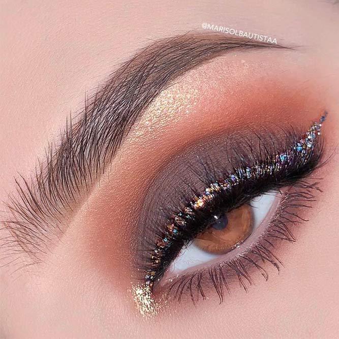 Cappuccino Brown Smokey With Glitter Eyeliner #glittereyeliner