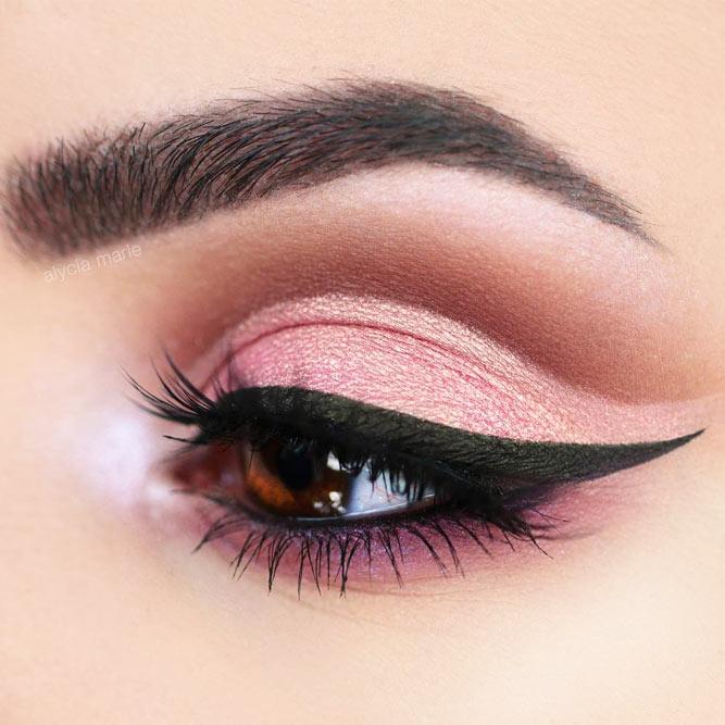 Pink Cut Crease Look With Black Eyeliner For Dark Amber Eyes #pinkshadow #blackeyeliner