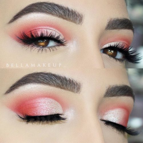 Pink Shimmer Smokey Eyes Look #pinksmokey #softarchbrows
