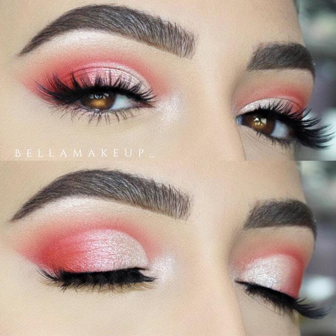 Pink Shimmer Smokey Eyes Look #pinksmokey #softarchbrows