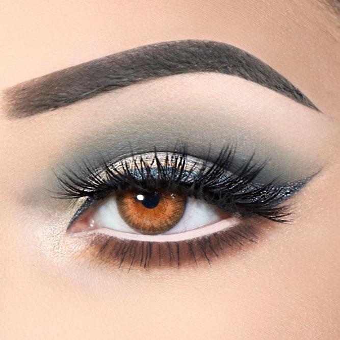 Matte Smokey Makeup Idea With Glitter Eyeliner For Light Amber Eyes #matteshadow #glittereyeliner