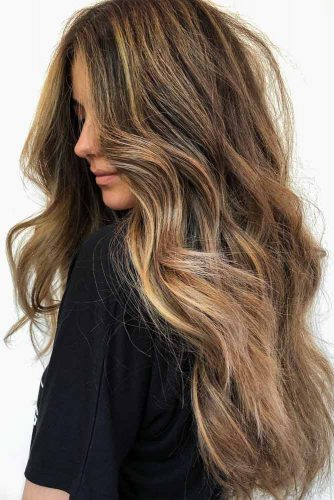 Long Brown Hair With Balayage #balayagehair #blondebalayage