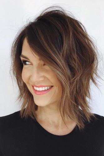 Brown Balayage For Shaggy Layered Lob #shaggyhair #layeredhaircut