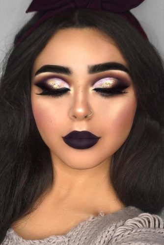Night Makeup Look With Black Lipstick #smokeyeyes