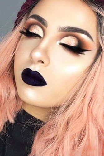 Glam Makeup Ideas with Black Lipstick picture 3