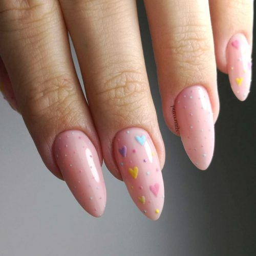 Girly Almond Shape Gel Nails With Dotted Designs #almondnails #nudenails #pinknails #heartnails
