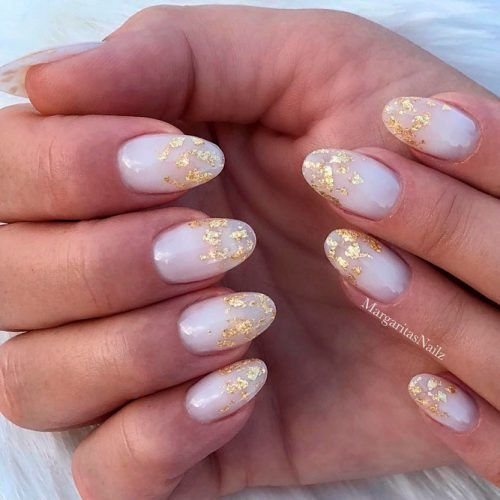 Oval Gel Nails With Gold Foil Art #ovalnails #goldfoilnaiart