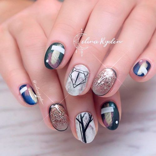 Rounded Nail Shape With Hipster Design #hipsternails #shortnails