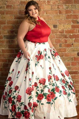 Red And White Prom Dress Design #floralprint #alinedress