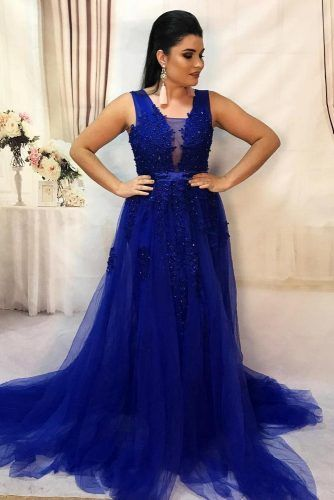 A-line Plus Size Blue Dress #alinedress #tulle