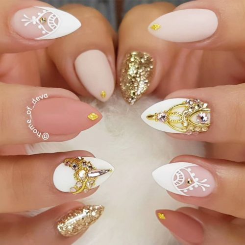 Nude Pointy Nails Design #nudenails #mattenails