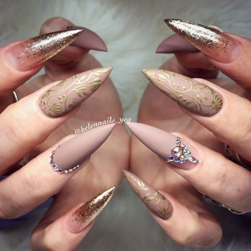 Pointy Nails with Glitter Designs Picture 5