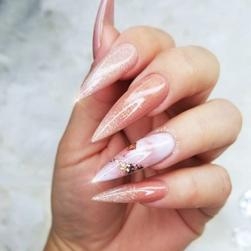 Pointy Nails with Glitter Designs Picture 3