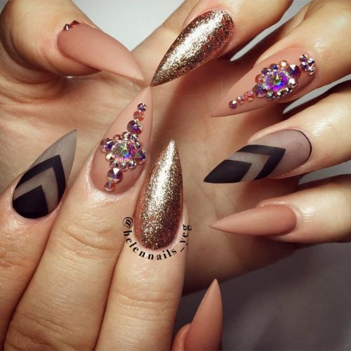 Pointy Nails with Glitter Designs Picture 4
