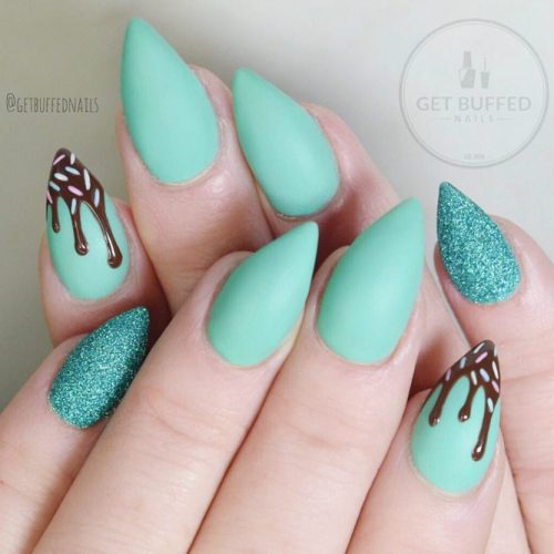 Matte Mint Pointy Nails #mattenails