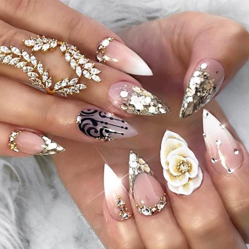 Charming Pointy Nails Design #french #3dnailart