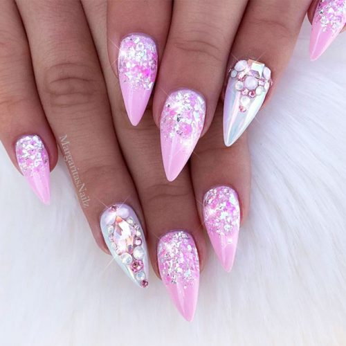 Pink Shimmer Pointy Nails #pinkpointynails
