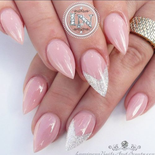 Nude Short Pointy Nail Design #nudepointynails