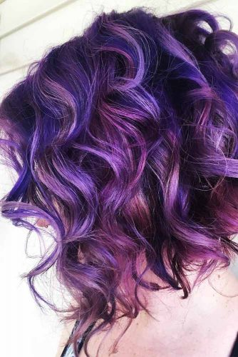 Deep Purple And Magenta Highlights #coloredhair #curlyhair