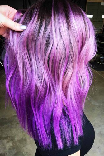 Pastel Lilac To Bright Lavender Fade #ombrehair #wavyhair