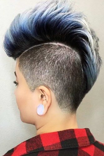 Blue Mohawk Hairstyle #mohawk #ombrehair