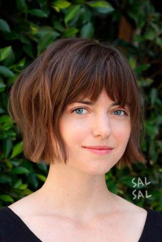 Short Bob With Bang #shaggyhairstyles