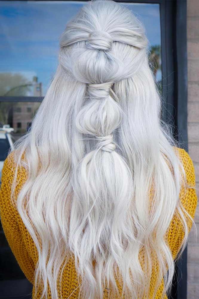 Long Silver Hair With Bubble Braid #bubblebraid #longhair