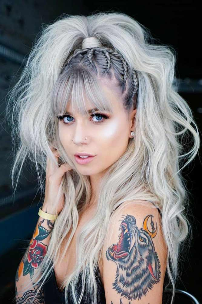 Long Silver Hair With Ponytail Hairstyle #ponytail #bangshaircut