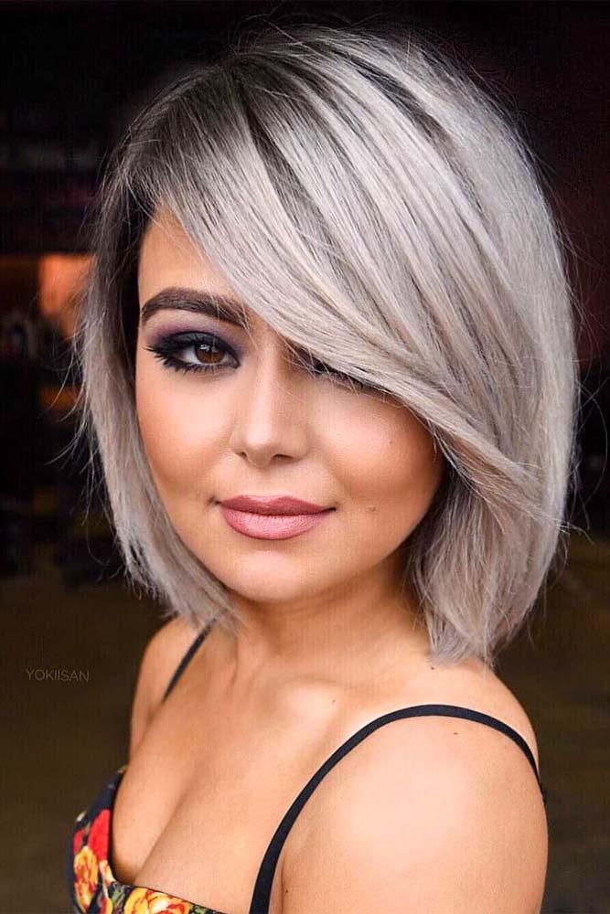 Medium Bob Cut WIth Silver Hair #mediumbob #sidebang #silverbob