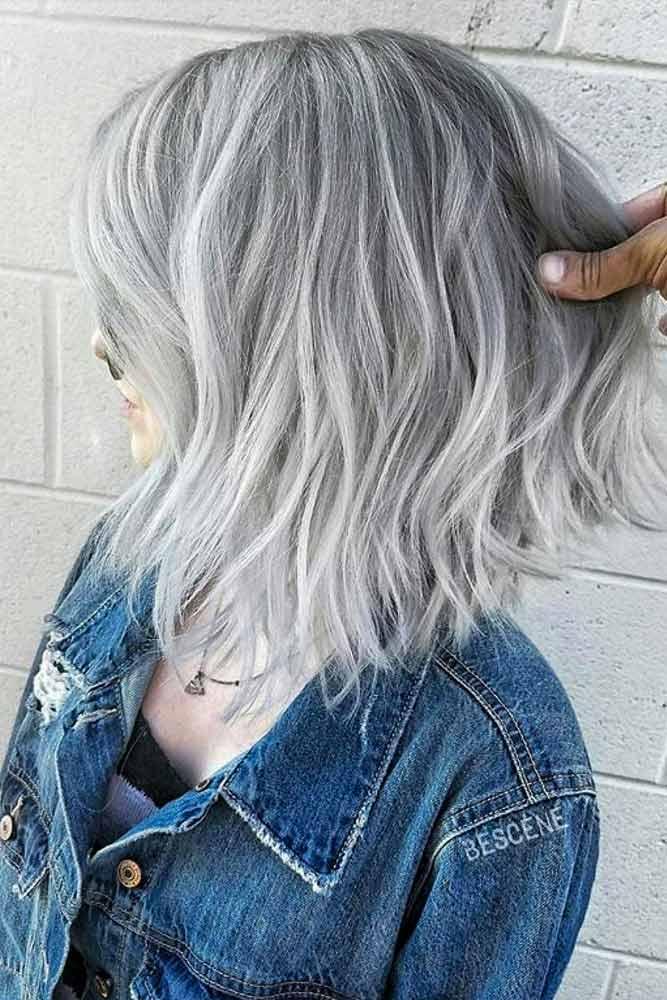 Short Bob Haircut With Silver Hair #bobhaircut #shortbob