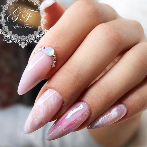Beautiful Nude Colored Shellac Nails Picture 2