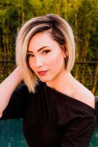 Asymmetrical Blonde Bob For Straight Hair #ombrehair #straighthair