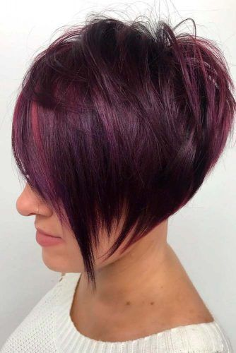 Layered Purple Short Bob #purplehair #layeredhair