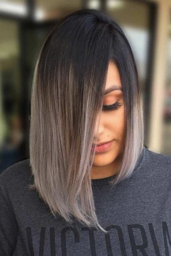 Asymmetrical Haircut With Ombre Hair #ombrehair #greyhair