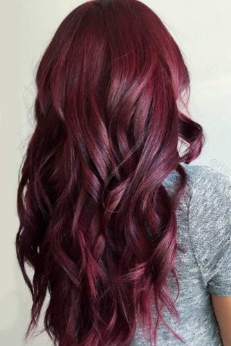Dark Burgundy Shade For Long Hair #longhair #wavyhair