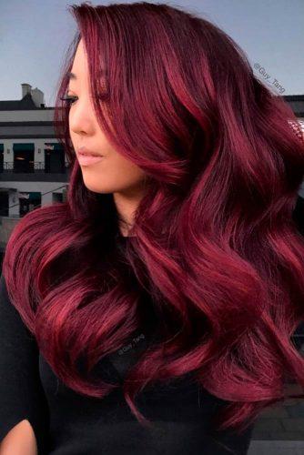 Dark Burgundy Velvet For Long Hair #longhair #wavyhair #sidebang