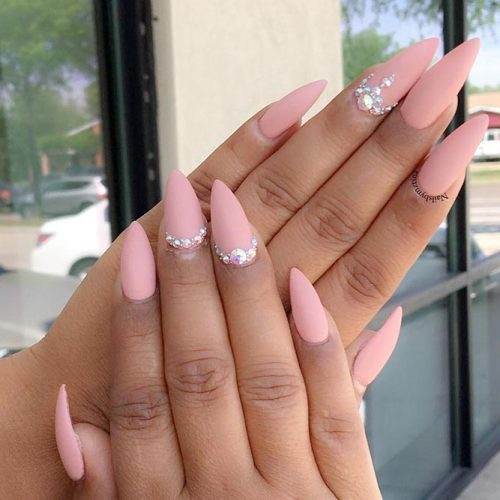 Nude Matte Nail Design With Rhinestones #nudenails #mattenails #rhinestonesnails