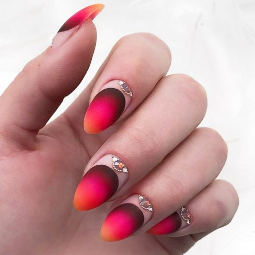 Ombre Almond In Bright Colors With Crystal Half Moon