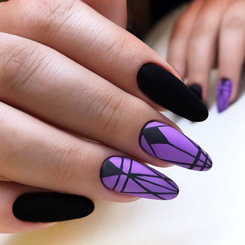 Long Almond Matte Nail Design