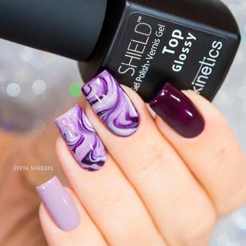 Bright Purple Marbled Nails #purplenails #marblenails