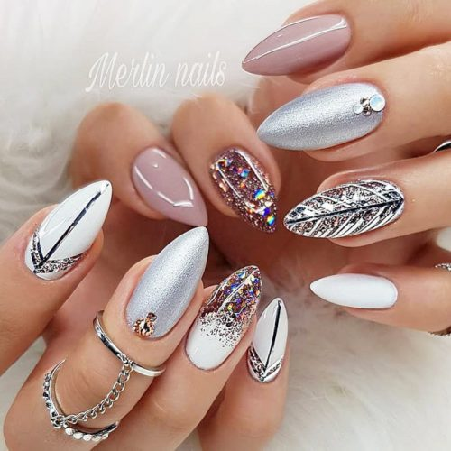Almond Mix Nail Design With Pattern Design